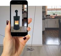 Smartphone-App zeigt es schon vorher: Wie macht sich der neue Kaminofen in meinem Wohnzimmer?